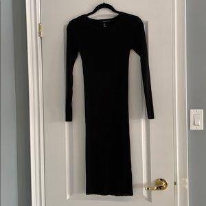 Black Ribbed MIDI Dress